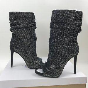 Jessica Simpson RINNAH Peep Toe Sparkle Bootie Blk